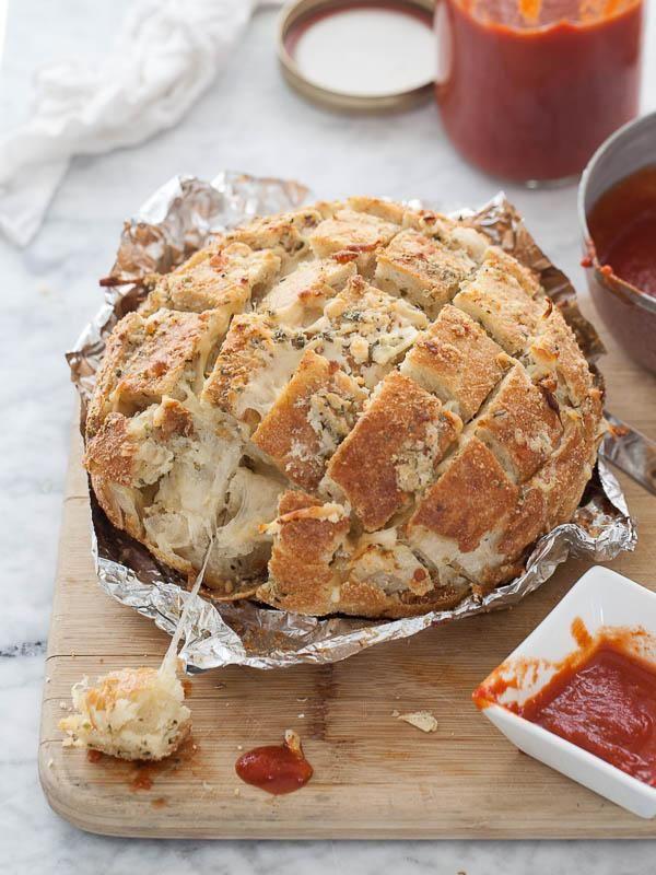 Smoked Mozzarella Pizza Bread / FoodieCrush.com