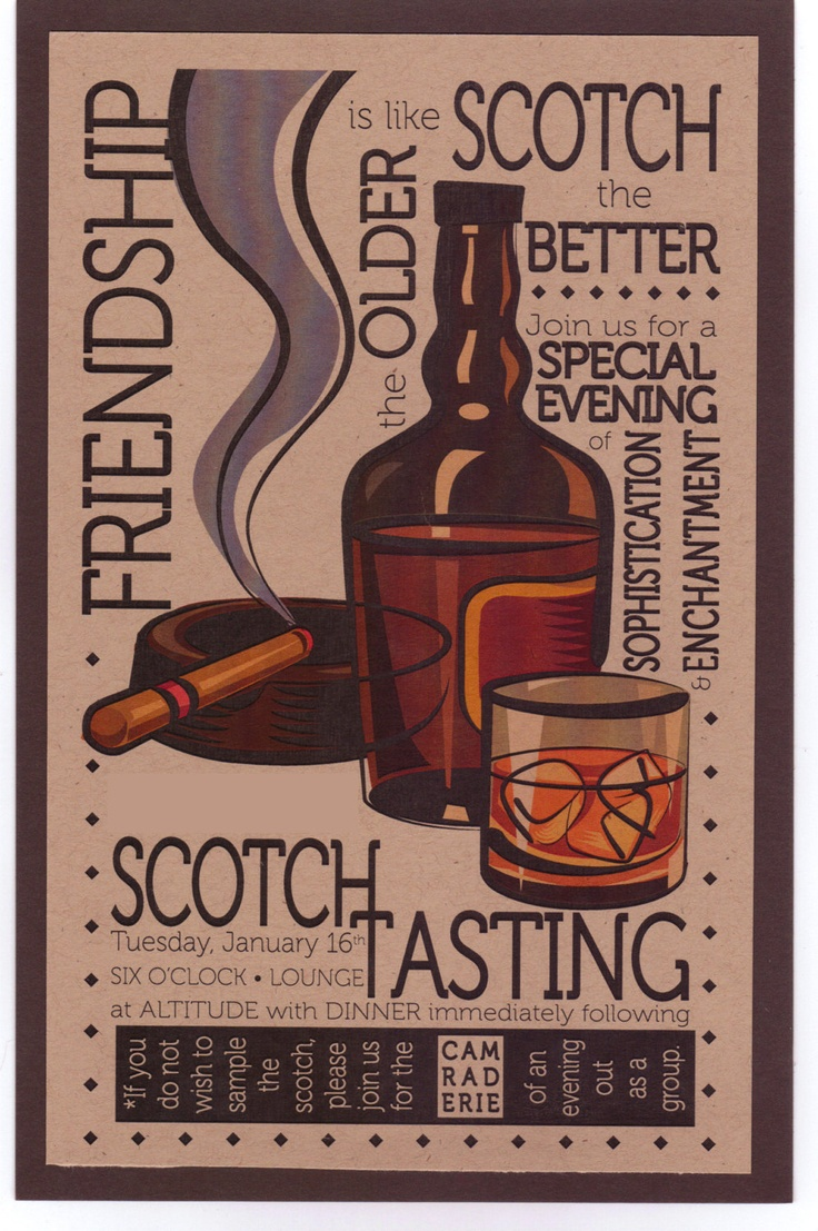 Qty. 25 Masculine Layered Scotch Tasting Party Invitation ...