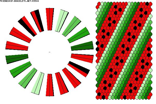 Kumihimo Pattern-Watermelom-36 Strands-K5544 - friendship-bracelets.net