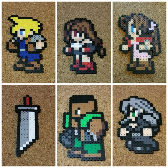 Final Fantasy 7 Bead Sprites | Cloud, Sephiroth, Barrett, Aeris, Tifa | SNES style 8 bit art