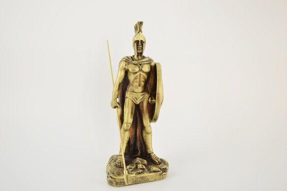 Leonidas statue/ Polyester/ Bronze plated 20cm by CraftsAndMetal
