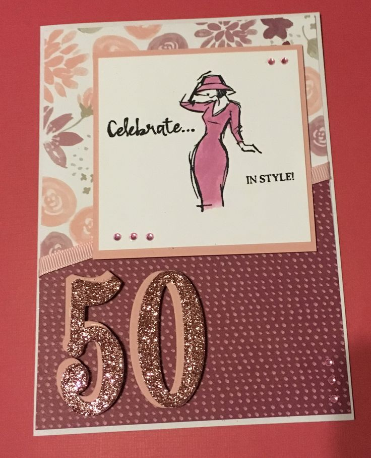 Stampin up beautiful you 50th birthday card