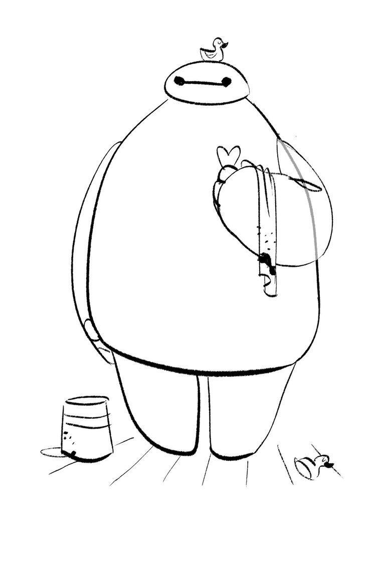 Big hero six concept art a early sketch of baymax drawing by shiyoon kim