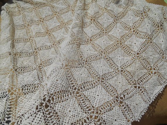 Victorian Off White Fine Lace Tablecloth Hand by SophieLadyDeParis
