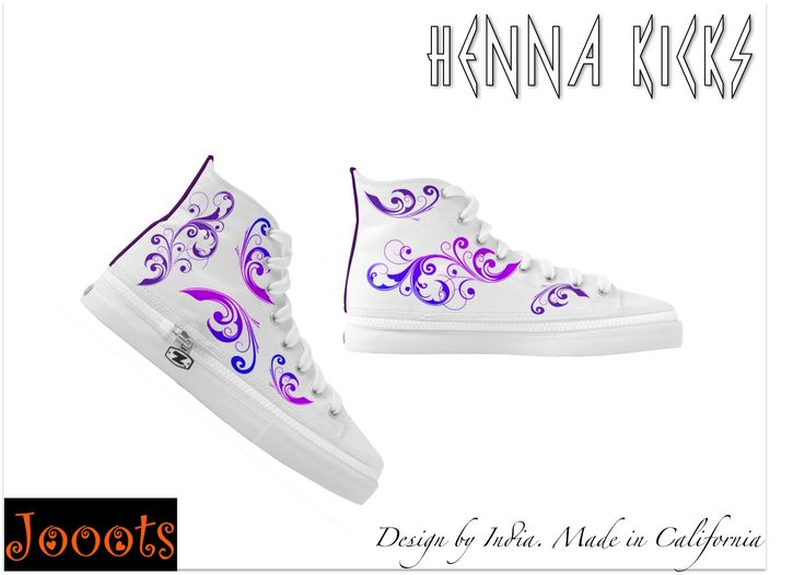 Ethnic women's sneakers or canvas shoes. Henna design high tops or ked – Artikrti