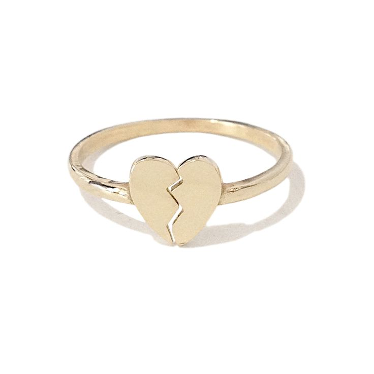 14K Gold Broken Heart Emoji Ring