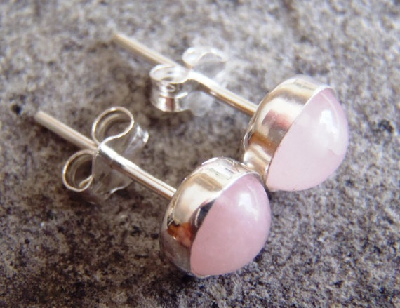 6mm Rose Quartz and Sterling Silver Post Stud by PJsPrettys, $34.04