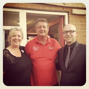 Jane & Barry with Eric Bristow at Owlerton Stadium!