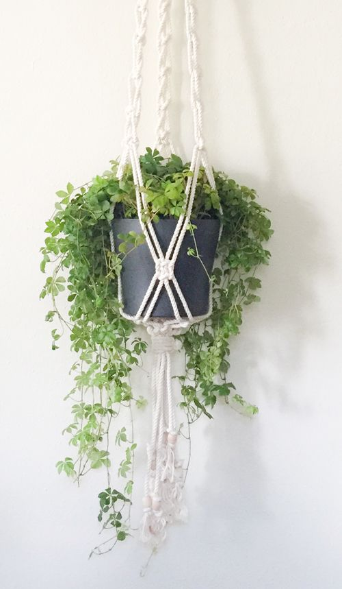 Macrame Plant Hanger with Wooden Beads / Melissa Jean Made