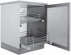 Pair of chrome finish pull-out baskets with braking system for base units with doors  30cm 40cm