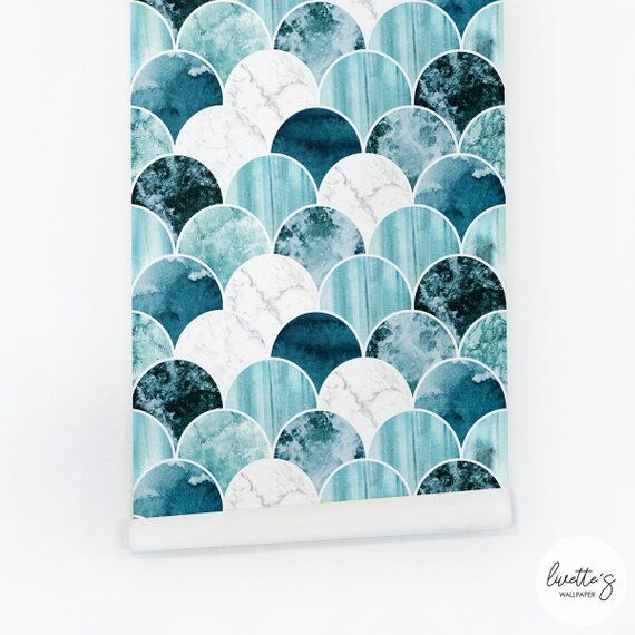 Blue Marble Wallpaper Nautical Scallop Tiles Peel And Stick Etsy Blue Marble Wallpaper Marble Wallpaper Scallop Tiles
