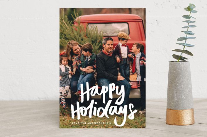 """""""Happy Holidays"""" - Holiday Photo Cards in snow by Phrosne Ras. #merry #happyholidays #foil #gold #rosegold #merrychristmas #photocards #minted #holidayscards #cards #christmas #holiday #happynewyear #cheers #love #merrybright #religious #bright #joy #clean #simple #modern #elegant #glitter"""
