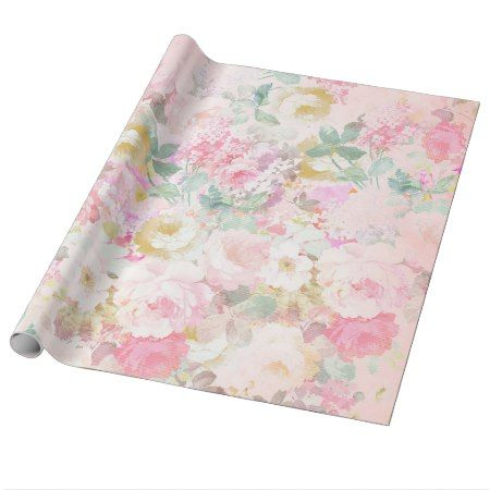 Chic retro pink white watercolor floral pattern wrapping paper - tap to personalize and get yours