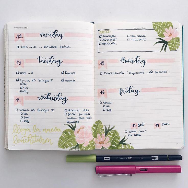 """1,539 Likes, 14 Comments - Bullet Journal & Studygram (@mylittlejournalblog) on Instagram: """"Aún no os había enseñado el bullet de esta semana. Estoy usando la misma decoración para todo…"""""""