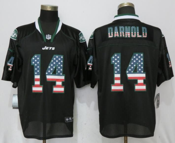 low priced 138a1 e20ca Men New York Jets 14 Darnold USA Flag Fashion Black Elite ...