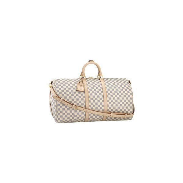 Keepall 55 With Shoulder Strap (€1.275) ❤ liked on Polyvore featuring bags, louis vuitton, travel, borse, luggage, women, travel bag, metallic bag, louis vuitton bags and shoulder strap bags