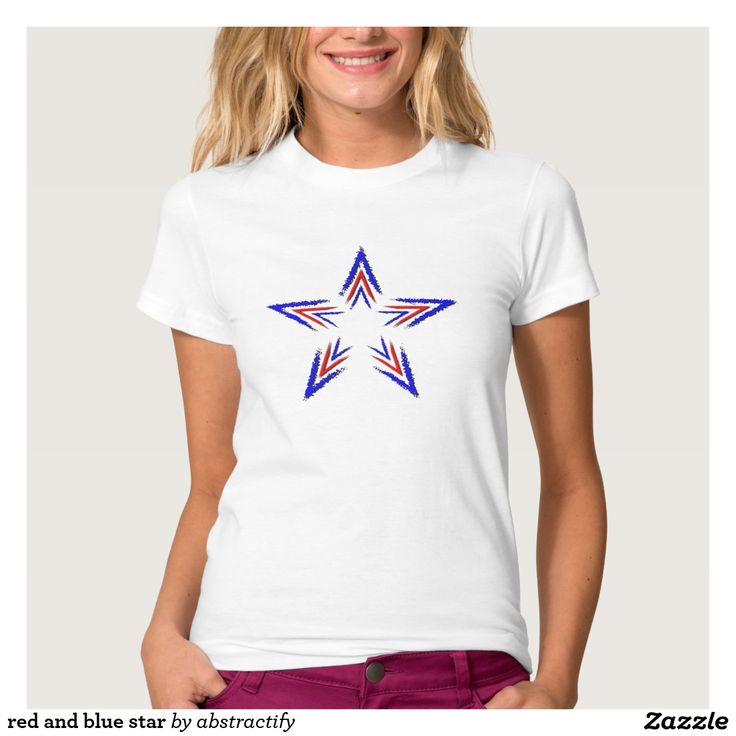 red and blue star tee shirt
