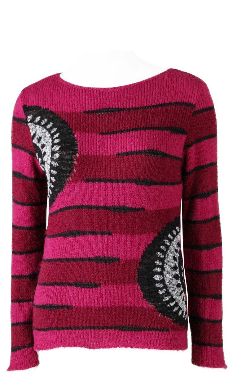 AULINA PRUNE ,pull col rond rayure plus graphisme ,coloris prune noir.Femme 40 50.Made in France 55€ vendu sur www.depchmod.fr
