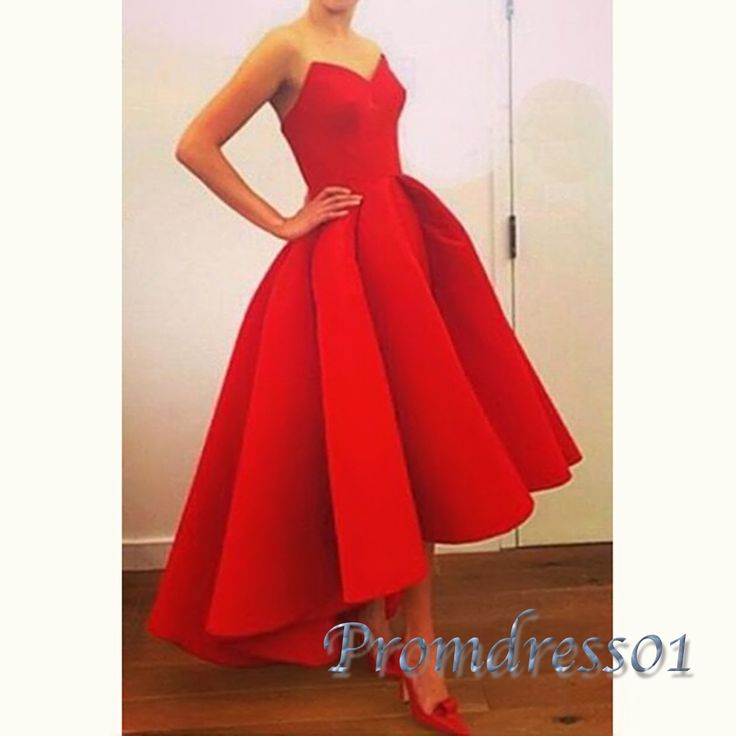 Cuet high low prom dress, ball gown, red satin sweetheart dress for 2016 #coniefox #2016prom