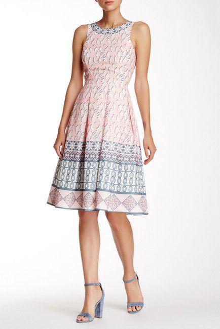 Image of Champagne & Strawberry Pleated Midi Dress