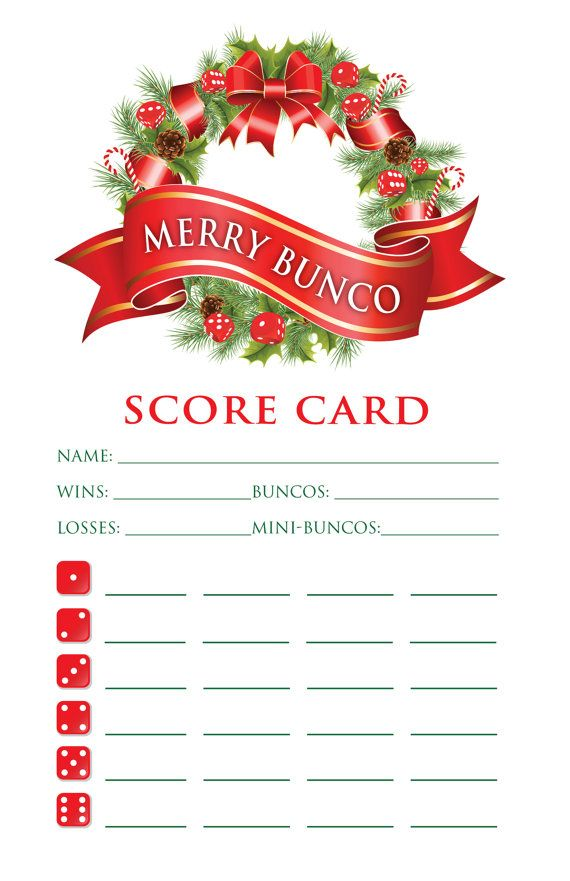 Holiday bunco score card                                                                                                                                                                                 More