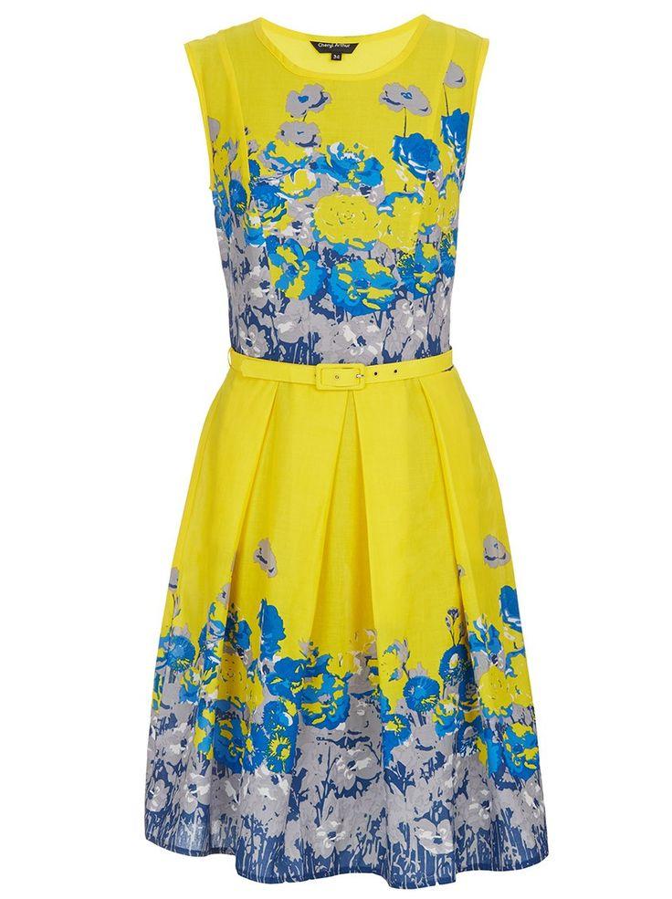 50s Pleated Dress Multi-colour