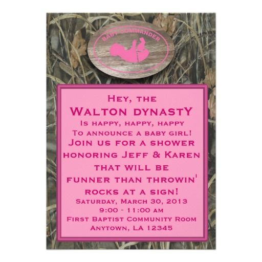 pink camo baby shower invitations baby party supplies pinterest