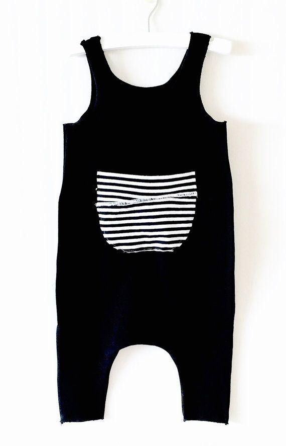 Baby harem Romper ,Black romper,Cotton Black Romper with front pocket Striped Patch, Baby Boy or Girl Romper, Black White Stripes,