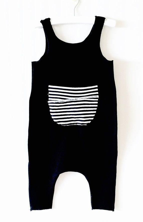 Baby harem Romper ,Black romper,Cotton Black Romper with front pocket Striped Patch, Baby Boy or Girl Romper, Black White Stripes,