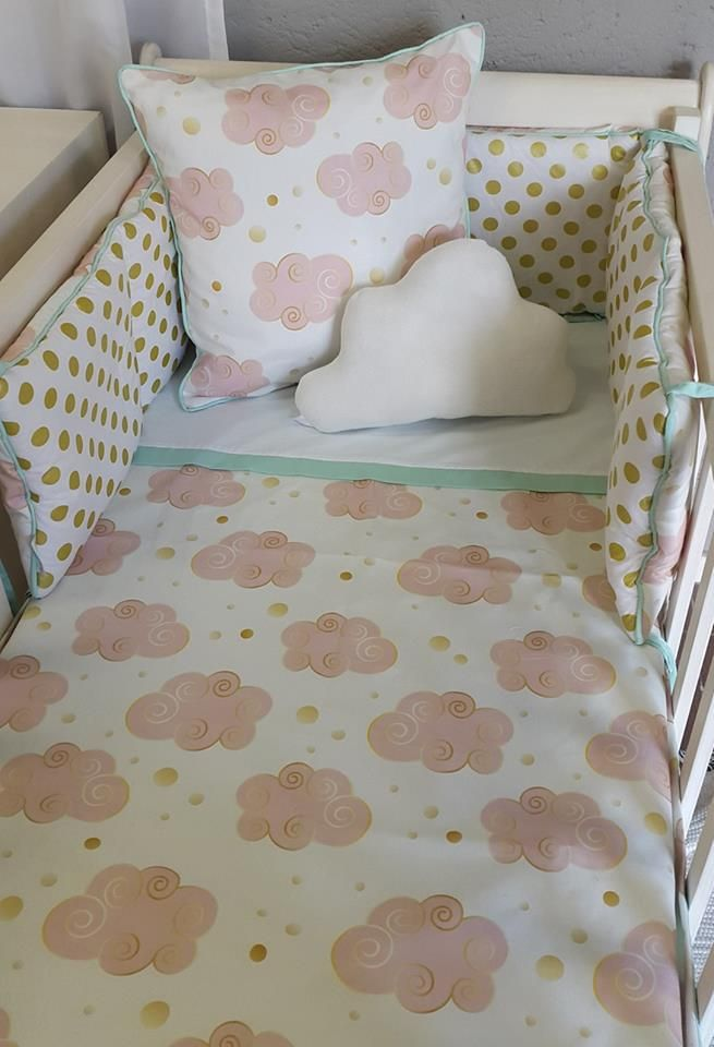 Our Glitz #Clouds, designed and printed exclusively for Studio Colletion, is perfect for any #PinkandGold Nursery, for any #BabyGirl!   #BabyBedding #BabyLinen