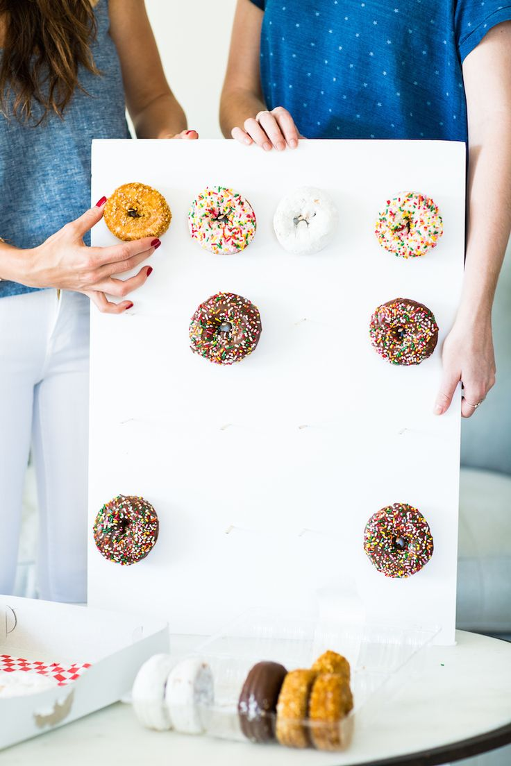 We LOVE this idea! Display treats on a wall, like this donut wall!