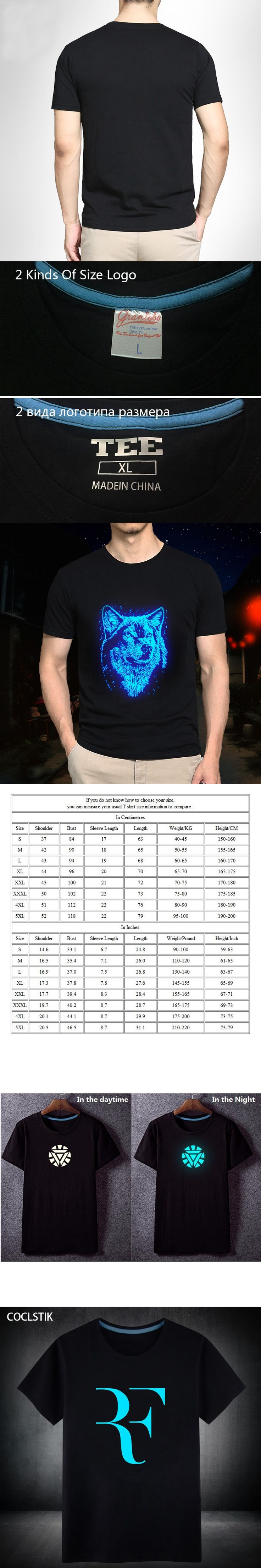 100% Cotton Summer Fluorescent Letter Printed T Shirt Mens Roger Federer Fitness T-shirt Homme Streetwear Hip Hop Tops Tee S-5XL