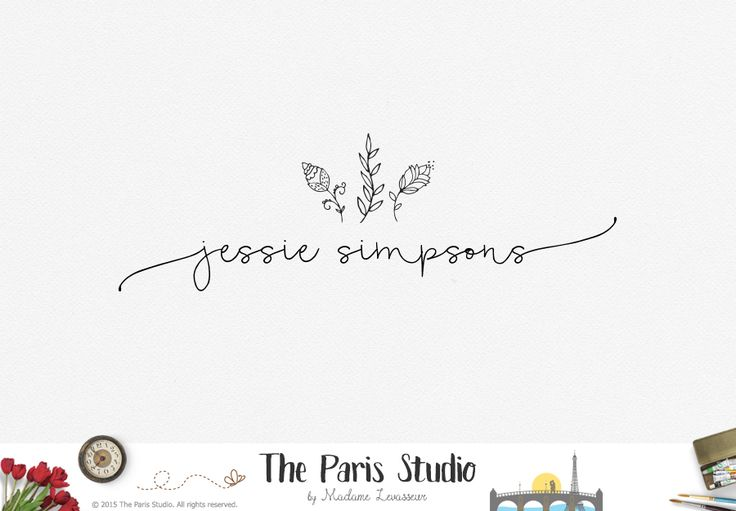 Hand Drawn Floral Minimalist Logo Design - restaurant logo, photography logo, website logo, boutique logo, creative business branding or small…