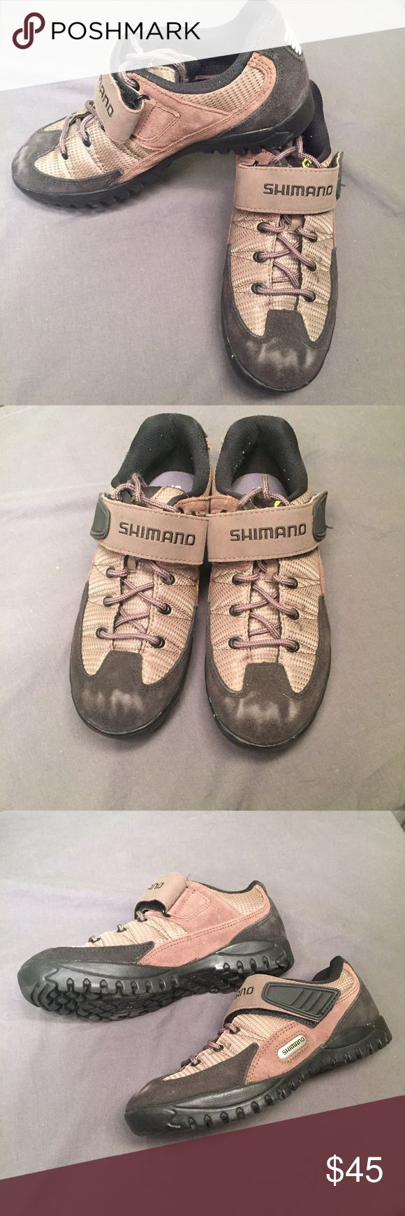 Shimano Bike Shoes Used in good condition! Only wear is on the toes of these shoes. Size 6. Color is Black and Tan Shimano Shoes Athletic Shoes