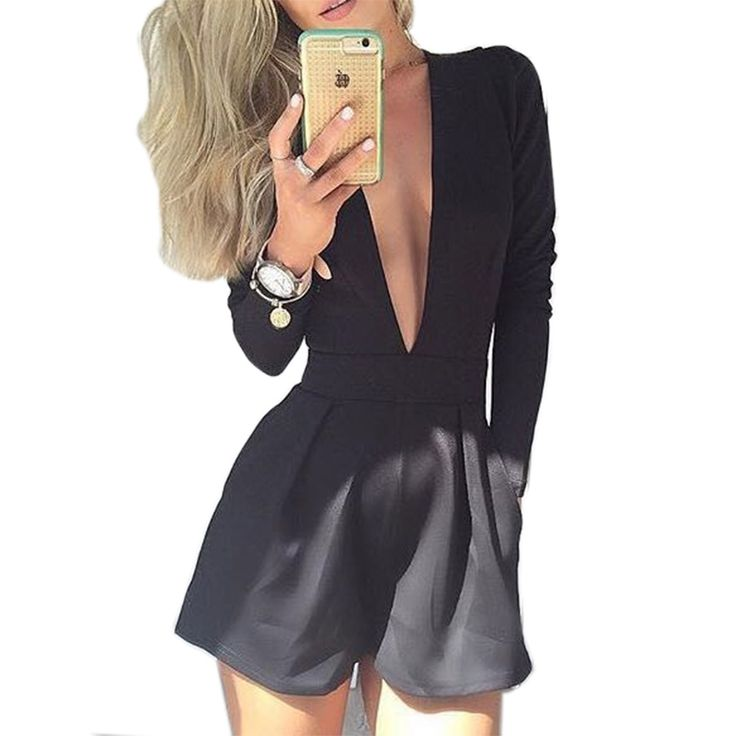 2015 New Arrival Summer Fashion Rompers Women Black Sexy Club Long Sleeve Jumpsuit Deep V neck Playsuit Jumpsuits Hot Shorts