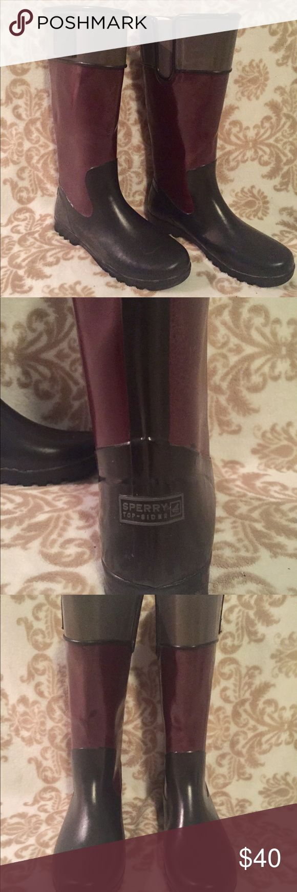 "Sperry Top Sider Rain Boots Sperry top sider rain boots! Approx. 13"" high. These have been worn (some wear on shaft of boot) but are overall in good condition! The soles are nearly perfect. No tears or holes. Interior is in great condition and super soft and comfy. Black, dark purple & gray. Kindly, no trades. Reasonable offers welcome. Let me know if you have any questions! Sperry Top-Sider Shoes Winter & Rain Boots"