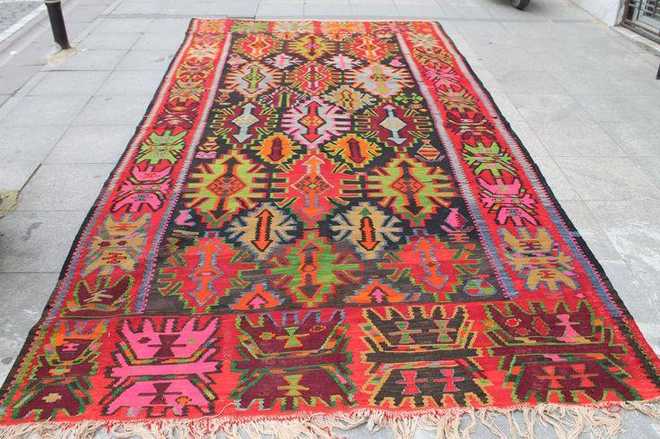 Azerbaijan Kilim Rug,Vintage Kilim Rug  150''x77.16'' Anatolian Kilim Rug,Handade Kilim Rug by kilimpi on Etsy https://www.etsy.com/listing/286974305/azerbaijan-kilim-rugvintage-kilim-rug