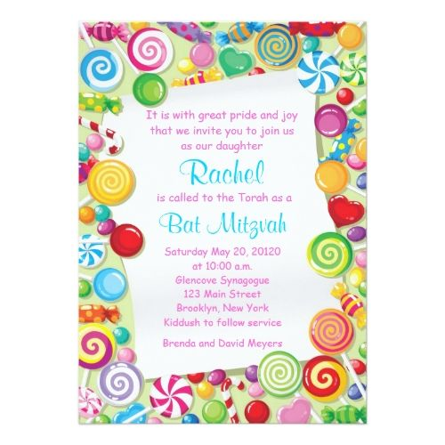 Candy Birthday Party Invitations Candyland Candy Theme Bat Mitzvah Invitation