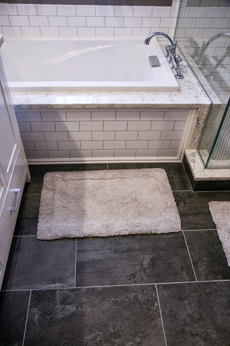 Dark 12x24 tiles in small bathroom
