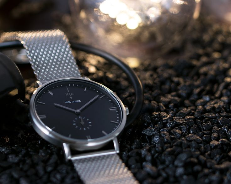 Nick Cabana Watch - Talisman No7  Minimalistic watch for men with black dial and silver mesh strap.