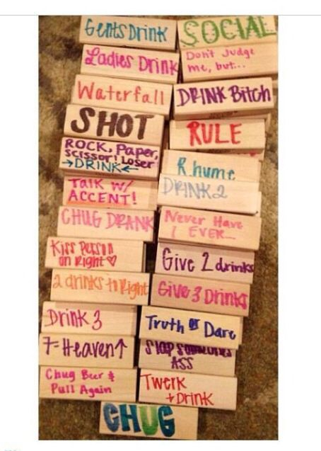 Jenga drinking game - though i'm sure you can put whatever you want..