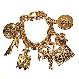 Chanel Large Godtone Seven Logo Charms Bracelet