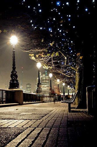 Evening strolls are infinitely more magical during the holiday season. Start a tradition of weekly family walks to take in the holiday sights, like these fairy light-adorned trees in London.