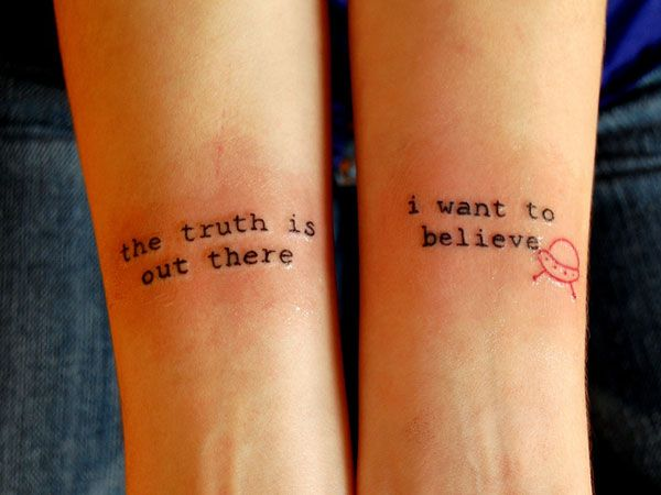 I hate word tattoos, but this is AMAZING.  x-files!!