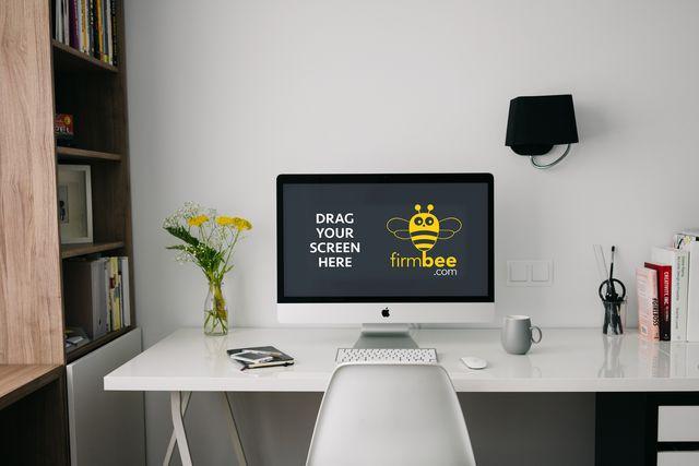 Freelance workspace with Apple iMac - free PSD mockup #apple #imac #mac #iphone #design #workplace #workspace #minimalist #white #desk #freelance #digital #home #homeoffice #office #elegant #business #documents #mobile #HD #