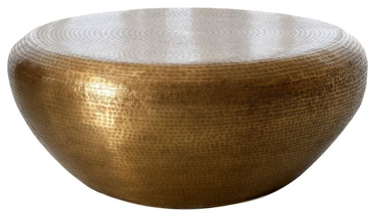Hammered brass drum round coffee table large minimalist