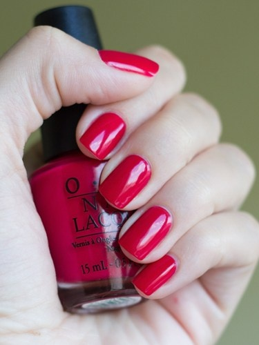 """Dutch Tulips"" OPI. When true reds are too strong, try this color with a little tint of magenta. One of my favorites!"