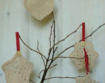 Christmas tree ornaments - Crochet Christmas decorations - Shabby chic by Melinda Pix