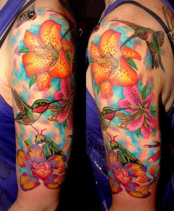 Flower and hummingbird half sleeve tattoo - 55 Amazing Hummingbird Tattoo Designs | Art and Design