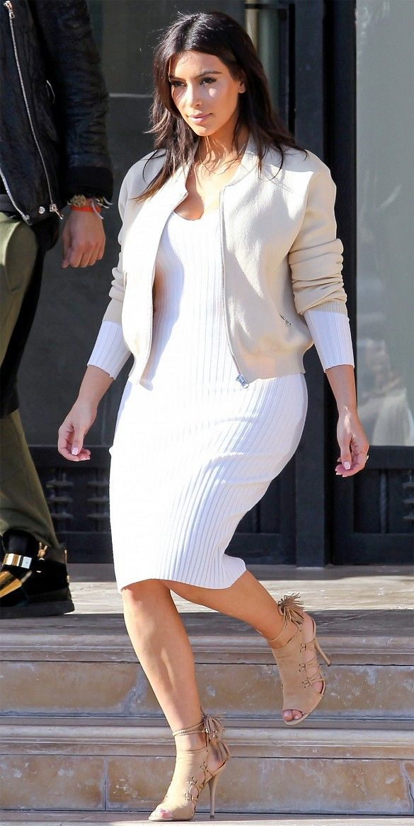 Pair a white long sleeve dress with a nude jacket and heels for a neutral and clean appearance. // #Fashion